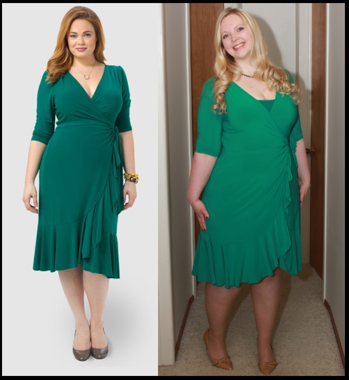 fb793a5d51b Whimsy Wrap Dress Green by Kiyonna from Gwynnie Bee. Here it is on the  model and on me.